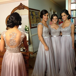 Wholesale Custom Made Sweetheart Silver Bridesmaid Dresses Chiffon Cap Sleeve Sheer Back Maid of Honor Dress With Lace Appliques Vestido para madrinha
