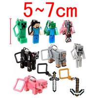 Wholesale Minecraft Hanger Creeper Figure Backpack Keychain Clip D PIG minecraft D keychain