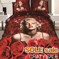Cheap 2014 New Marilyn Monroe Bedding Sets Queen Size Bedlinens Sexy Lady Monroe Duvet Cover Sets