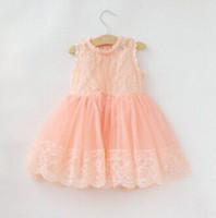 Wholesale baby girl kids flower tutu dress floral tutu dress lace dress wave ruffle hollow dress princess jumper fluffy ballet tulle pettiskirt