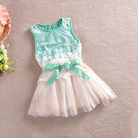 Lowest Price summer girls lace dress with belt baby vest dre...