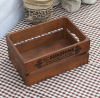 Wholesale Zakka Vintage Wooden Flower Pot Trays Solid Wooden Storage Box Old Style Wood Craft Home Decor cm
