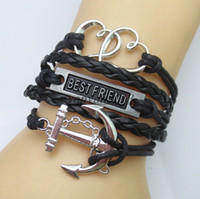 best combines - Handmade Punk Chunky Multi Layer Combined Leather Bracelet Love Anchor Tree Best Friend Heart Braided Rope Charm Fashion Men Alloy