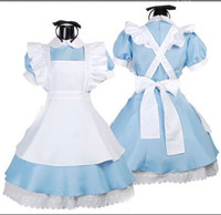 Wholesale Women s Blue Alice s Wonderland Lolita Maid Sexy Cosplay Costumes Fancy Dress Set Apron Hairband NU PU ZHUANG