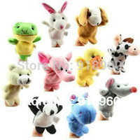 Cheap Free Shipping 9 pcs lot Baby Plush Toy Finger Puppets Tell Story Props(10 animal group)Animal Doll Kids Toys Children Gift TOQ