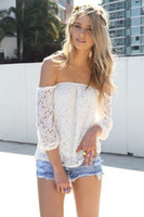 Cheap blusa de renda manga longa 2014 summer off the shoulder sexy crochet tops women white lace blouse camisetas femininas ropa mujer