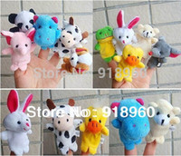 Cheap Free Shipping 50 pcs lot Baby Plush Toy Finger Puppets Tell Story Props(10 animal group) Animal Doll Kids Toys Children Gift TTL