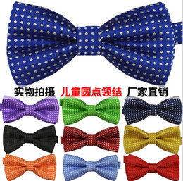 Wholesale 2014 new Children S ties boy s girl s bow tie fashion baby bow tie polyester yarn material kids shirt dots tie party supply colors
