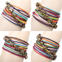 Wholesale Elephants Coccinella owl Butterfly Turtle Fox Charm Bracelet combination Elephant Pendant Bracelet Bronze Multilayer Woven