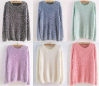 Wholesale women s clothing mohair sweater pullovers outerwear autumn winter vintage loose basic shirt knitted sweaters tops colors