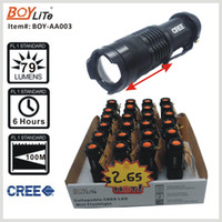 Wholesale BOY AA0003 portable lighting mini cree led flashlight with zoom function and clip display box pack