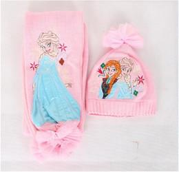 Wholesale Retail christmas gifts frozen scarf hat suit ice snow scarves cap Anna Elsa Children knit Accessories kids girl hats scarves sets