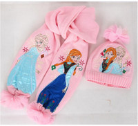 Wholesale Girls christmas gifts Pink scarf hat suit ice snow scarves cap Anna Elsa Children knit Accessories set pieces hat scarf