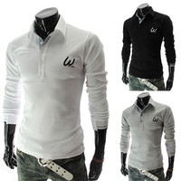 Cheap Good quality Men long sleeve polo shirt men Pure colour casual shirts Embroidery decoration mens Tight shirt