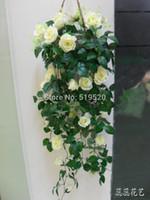 hanging flower basket - Highly artificial rose wall hanging basket flower vine decoration flower plastic flower artificial flower