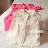 wholesale brand name clothes - HOT sell children s baby clothing vintage chest jacquard elegant short sleeve shirt kid blouse pink beige brand name