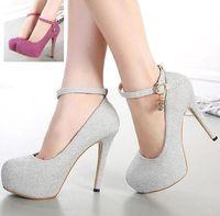 ladies shoes size - rhinestone buckle glitter sexy high heels women shoes ladies ankle strap platform pumps bride shoes colors size to WX