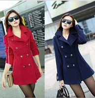 Cheap 2014 New Autumn Womens Wool Blends Coats Turn-down Collar Double-breasted Outwear Jacket Overcoat Lady's Coat Red Dark blue