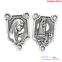Wholesale Connectors Findings Rectangle Antique Silver Holy Madonna Carved x12mm K10402
