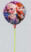 Cartoon aluminium cups - New arrivel cm frozen Elsa Anna balloon with stick and cup for childs toys Aluminium helium balloon