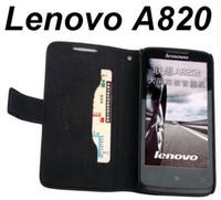 Free Singapur cubierta del cuero genuino para el Lenovo A820 / A820T Doormoon Marca