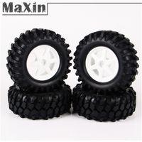 Cheap 4pcs set 1:10 Rock Crawlers Off-Road Wheel Rim Hub Rubber Tires For 1 10 RC Cars Parts Accs Model Toys Hobbies 10851