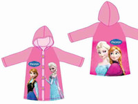 Wholesale 2014 New Frozen Raincoats pink Princess Elsa Anna Children Girls Outdoor School Raincoat Baby Cartoon Clothes FZ16