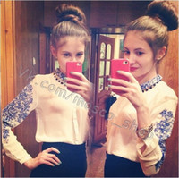 Cheap 2014 Fashion blouse shirt sheer shirts long sleeve Full Blue and white chiffon Tops