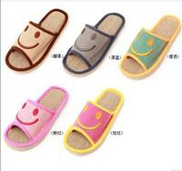 Cheap 2014 New summer Slippers smile linen slippers shoes for men and women couple home indoor floor slippers bottom family slippers