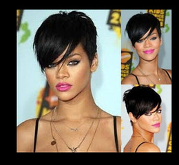 Wholesale Cool Best Selling Rihanna hair wigs black short straight synthetic wig