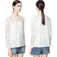 Cheap blusa de renda manga longa top women blouse 2014 summer crochet lace sleeve chiffon white blouses camisas femininas ropa mujer