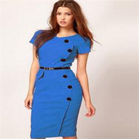Cheap 2014Hot Fashion V-Neck Button Pencil Dress Women European American Style Solid Tunic Bodycon Dress Women with Belt Women Clothes
