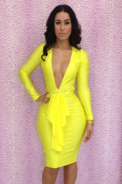 Deep v neck plus size dress