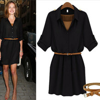 Cheap Fashion Punk Clothing Women Summer Dresses 2014 New Half Sleeve Elegant Solid Casual Dress Black Army Green With Sashes 3863