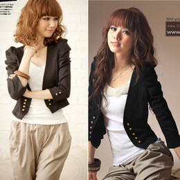 Stylish Women Ladies Shrug Long Sleeve Double-Breasted Slim Fit Tops Small Jacket Short Coat Cardigan Black Free Shipping 0808