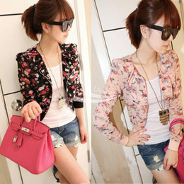 Women Fashion Long Sleeve Floral Print Shrug Short Jacket Chiffon Top 3 Colors free shipping