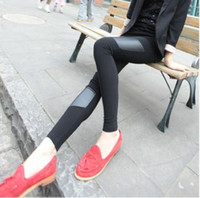 Cheap L0022 2014 New Arrival Ladies Womens Sexy Black Pencil Pants Faux Leather Full Length Footless Leggings Warmer Spring Autumn