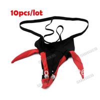 Cheap 10pcs lot New Sexy Men's briefs Thongs T Back Funny Eagle Pouch G-String Thong Underwear Novelty Black 15254
