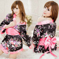 Wholesale women s Sexy Lingerie Japan Satin Kimono Dress Cosplay Costume G String Waistband dropshipping