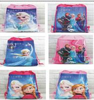 Wholesale 10 styles frozen drawstring bags Anna Elsa backpacks handbags children school bags kids shopping bags present