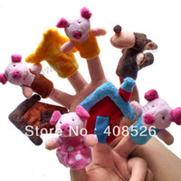 "Cheap 8Pcs Soft Plush Puppet Finger Toys ""The Three Little Pigs"" Educational Story-telling Toy For Children free shipping 8454"