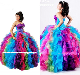 Wholesale Custom Made Design Ball Gown Rainbow Color Vestidos De Gala Quinceanera Dresses Puffy Crystal Sequins Sweet Gown Pageant Dresses XR