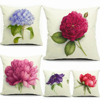 Wholesale Prevailing Flower Printing Linen Cotton Pillow Cases For Bedroom Livingroom CM Cartoon Cushion Covers Pillow Cases EHE15