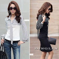Cheap New 2014 T Shirt For Women Wear Work Long Sleeve Business Stripe