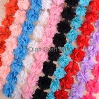 Wholesale 10 yards mixed colors or you pick Chiffon Flower Lace Trim Wedding Bridal Chiffon sashes Baby Headband Chiffon Ribbon Chiffon