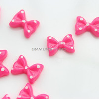 Headbands cell phone decor other jewelry 300pcs pink mini polka dot bow 13mm resin, flat back embellishment, hair bow supplies, card making supplies, scrapbooking