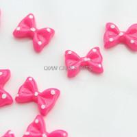 Cheap 300pcs pink mini polka dot bow 13mm resin, flat back embellishment, hair bow supplies, card making supplies, scrapbooking
