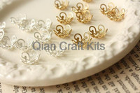 Wholesale 2000pcs mix color mm small Gold and silver Plated Floral Bead Caps Lightweight Metal Bead Cap Bead Cup Jewelry Making DIY