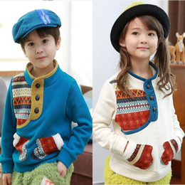 Wholesale Autumn winter children s clothing color matching totem boys girls button long sleeve pullover children coat tops kids fleeces clothes SM542