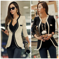 Wholesale New fashion women black white long design long sleeve casual suits blazers ladies spring jackets plus G0328